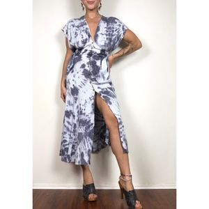 Dresses & Skirts - Hand Tie Dyed Button Front Side Tie Flowy Dress